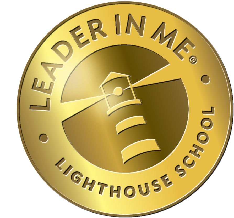 gold circle with Leader In Me Lighthouse School text