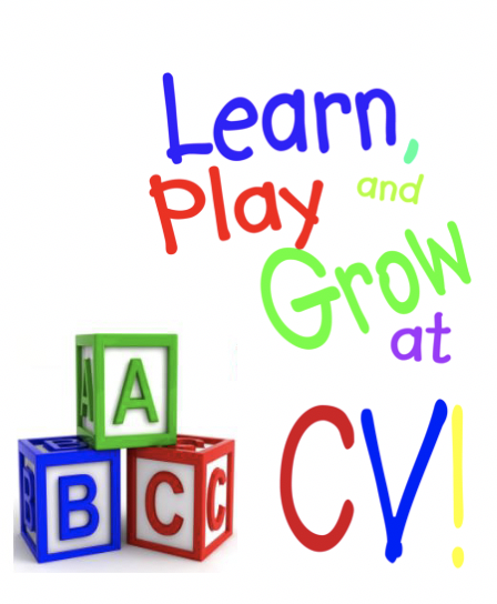 text Learn, Play, and Grow at CV with letter blocks
