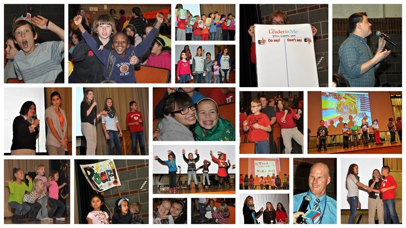 Collage of images from Leola Elementary Assemblies