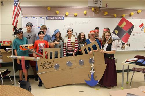 Quest students in pirate ship